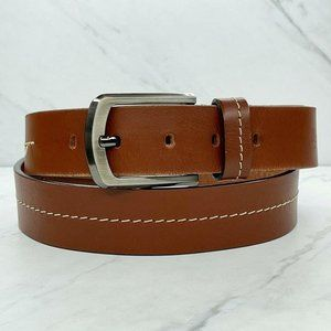 Rainforest Brown Thick Stitched Leather Belt
